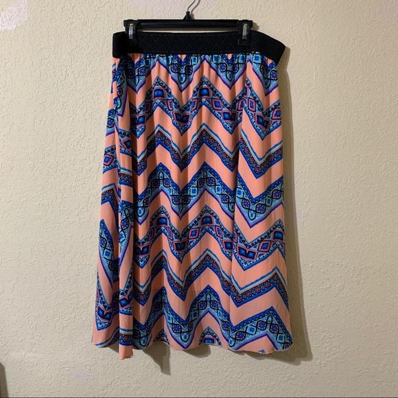 Lularoe Plus Size 2X Cheugy Millennial Midi Skirt